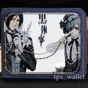 Black butler wallet Nobility family cartoon purse Good anime short cash note case Money notecase Leather jean burse bag Card holders