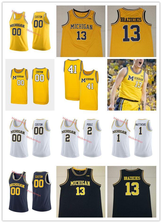 b968be057be4 2019 Custom NCAA Michigan Wolverines Iggy Brazdeikis Basketball Jersey  Isaiah Livers Zavier Simpson Charles Matthews Jorda Poole Michigan Jersey  From ...
