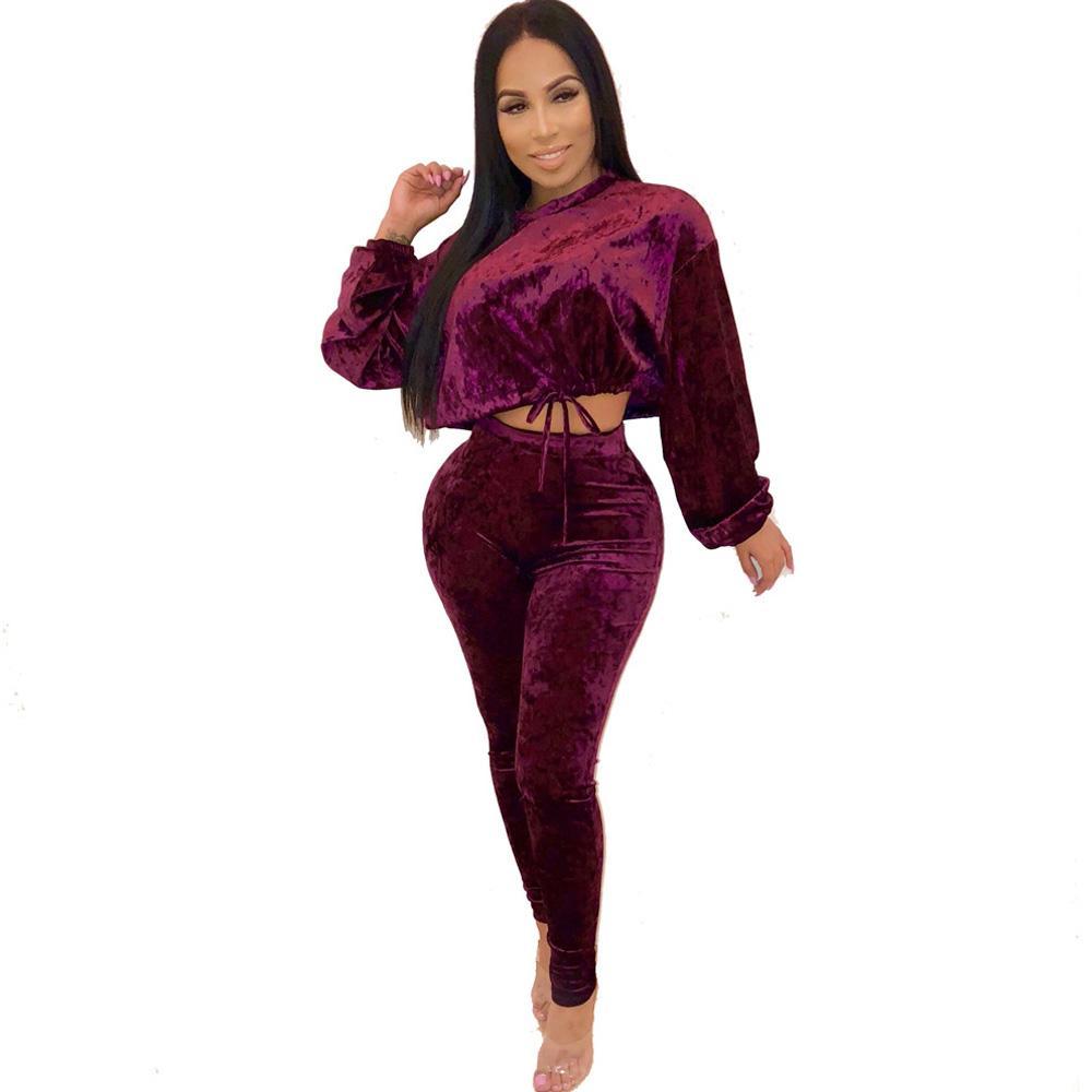 a080c5dd50aa Mujeres de terciopelo 2 piezas conjunto mono manga corta corta y cintura  alta Bodycon mamelucos damas ropa casual baratos overoles