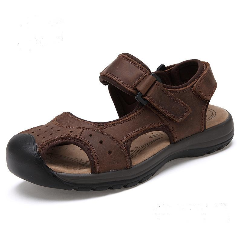4cbfe27e16fc14 Genuine Leather Men Sandals Summer Cow Leather New For Beach Male Shoes  Mens Gladiator Sandal 39 44 3367 Shoes Uk Flat Sandals From Kateperry, ...