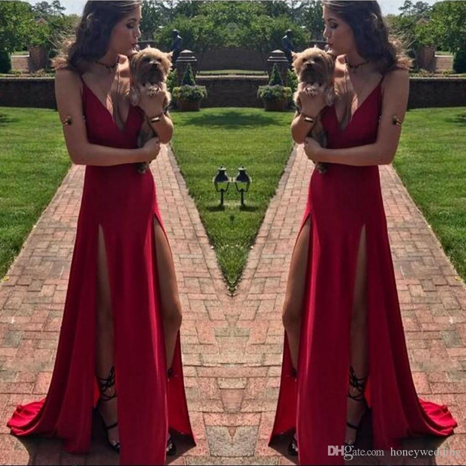 9a0c92406c Sexy Prom Dresses 2019 Deep V Neck Side Slit Sleeveless Evening Dresses  Formal Gowns Vestidos Special Occasion Dresses Beautiful Prom Dresses 2015  Best Prom ...