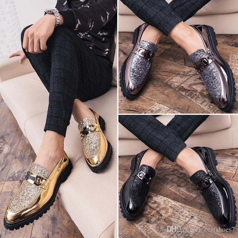 Men Thick Bottom Dress Shoes Luxury Italian Style Fashion Formal Brand Men Trend Bring Business Leather Shoes