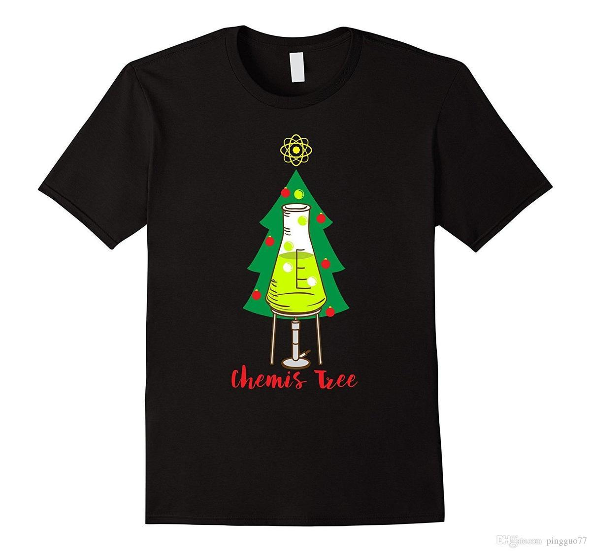 Christmas Pun.Chemis Tree Funny Science Chemistry Christmas Pun T Shirt Summer Short Sleeve Shirts Tops S 3xl Big Size Cotton Tees