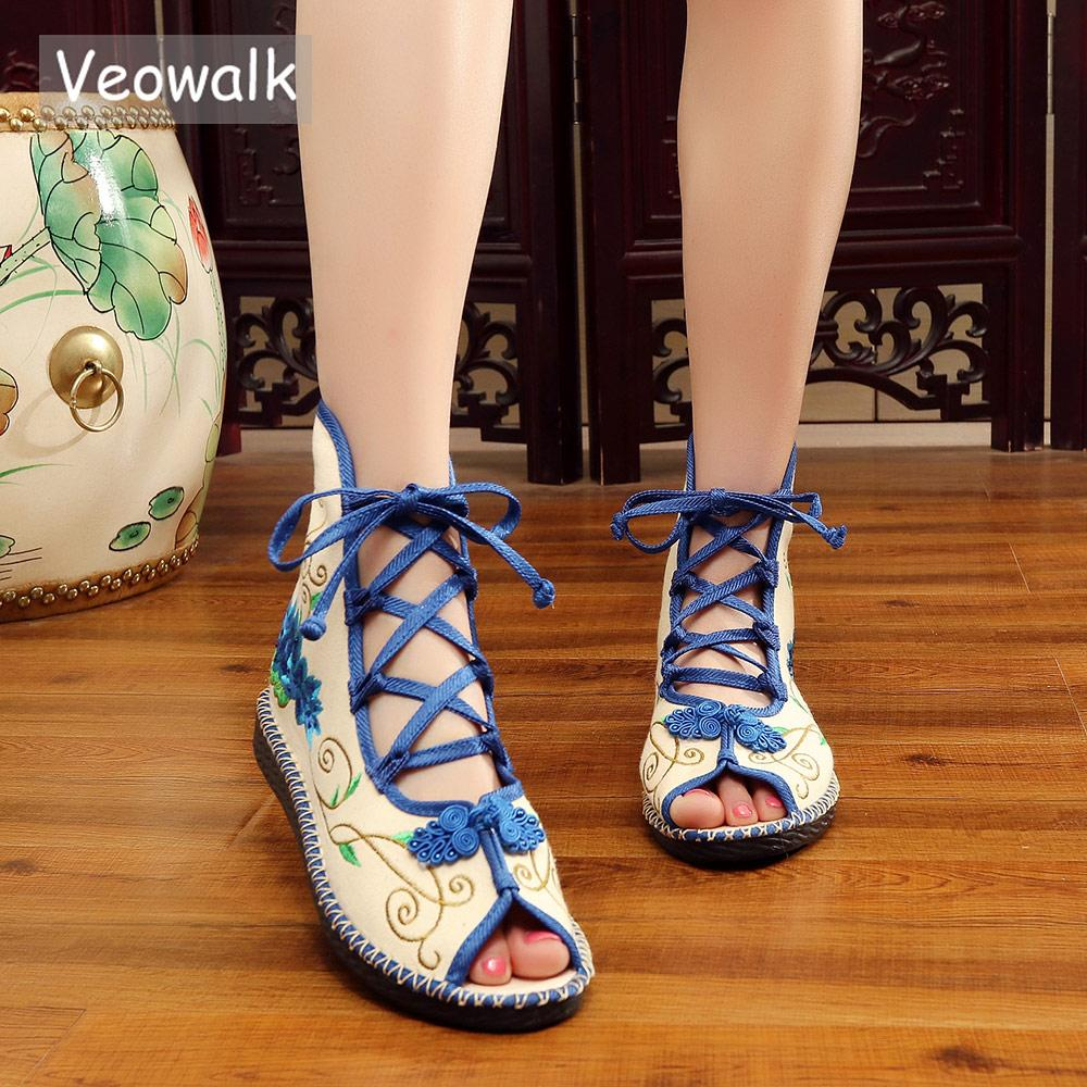 e2bef9a538f6 Veowalk Summer Super Light Women Canvas Gladiator Sandals Peep Toe ...