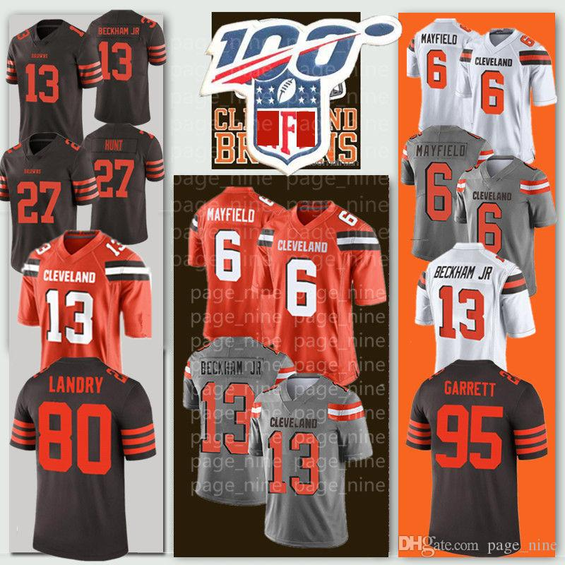 Men Baker Mayfield Cleveland Odell Beckham Jr Browns Jersey Myles Garrett Jarvis Landry Nick Chubb Denzel Ward Thomas Cheap 100th Jerseys
