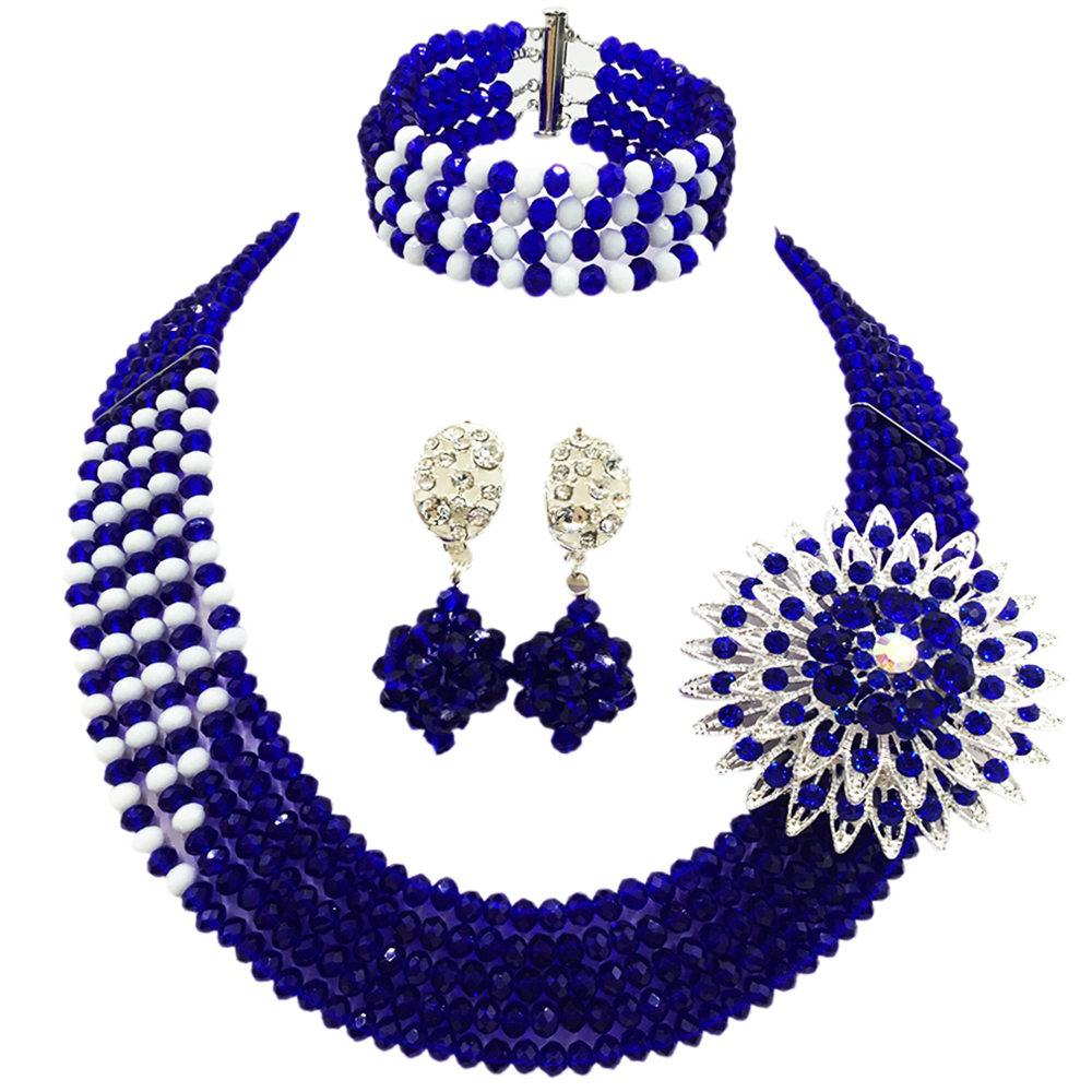 Fashion Royal Blue White Costume African Jewelry Set Nigerian Beads Wedding Necklace Bracelet Earrings Sets 5JZ10