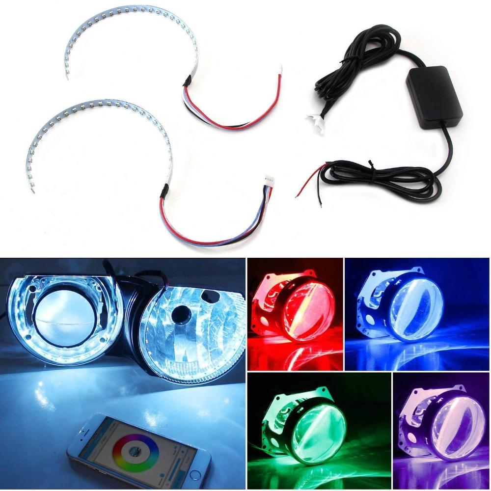 "Bluetooth Wireless Remote Control 15-SMD RGB LED Demon Eye Halo Ring Kit For Headlight Projectors or 2.5"" 2.8"" 3.0"" Retrofit"