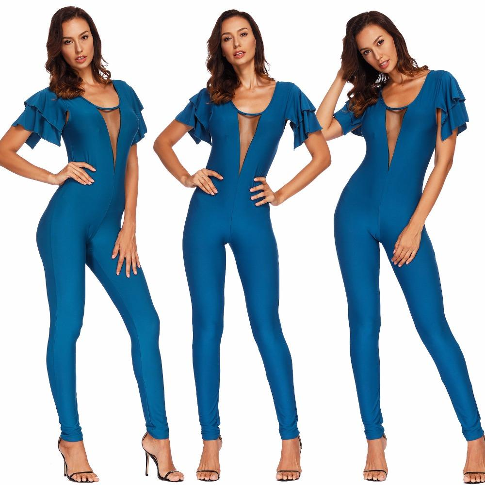 52bfbae1b7d 2019 New Simple Fashion Solid Color Women s Clothes Lotus Leaf Sleeve  Perspective Sexy Slimming Deep V Long Jumpsuits Female Romper Online with   18.29 Piece ...