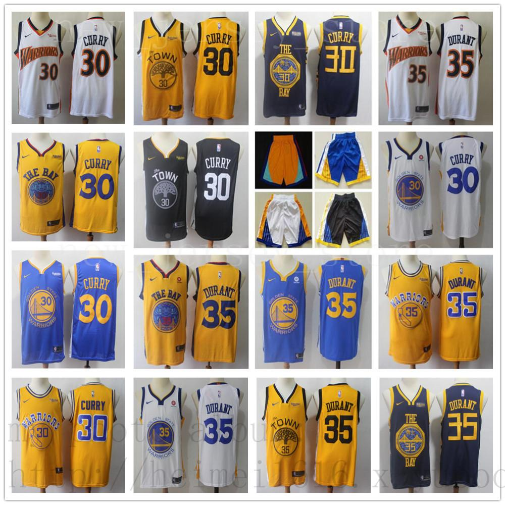 the latest 94b3d e60f0 Men City Warriors Earned #35 Kevin Jersey The Town Black Durant Home Road  Stephen Blue White 30 Curry Edition Basketball Jerseys