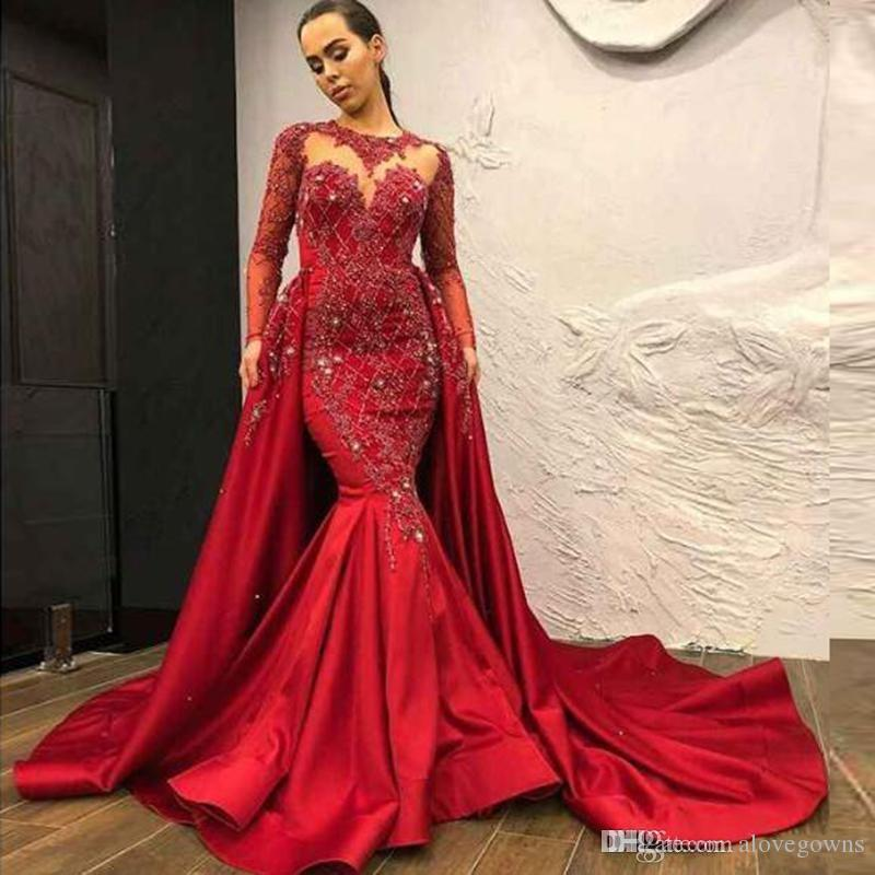 Dubai Arabic Modest High Neck Red Evening Prom Dresses With Detachable Overskirt Sheer Long Sleeve Appliques Beads Satin Long Pageant Gowns