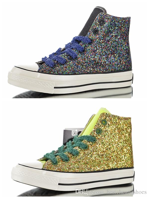 ea0ac8372725 2019 J.W.Anderson X CHUCK 70s 2.0 HI Glitter All Casual Canvas Shoes 1970s Mens  Trainers Sports Star Womens Designer Sneakers 36 44 From Bestcheap shoes