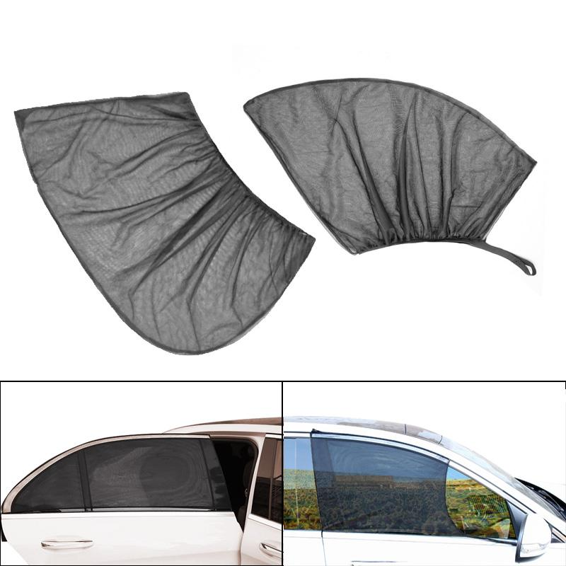 2Pcs Car Sun Shade Auto Sunscreen Curtain Car Window Sunshade Side Window Mesh Sun Visor Summer Anti-mosquito Net Film