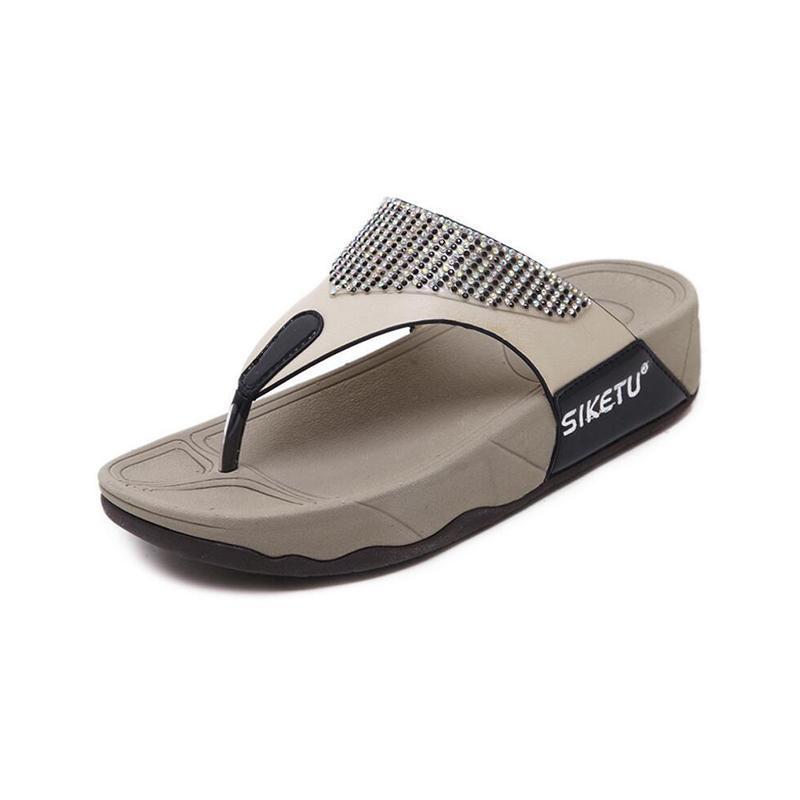 996ea893ec14 Summer Woman Shoes Platform Bath Slippers Wedge Beach Flip Flops High Heel  Slippers For Women Rhinestones Ladies Shoes K170 Slipper Dress Shoes From  Minterm ...