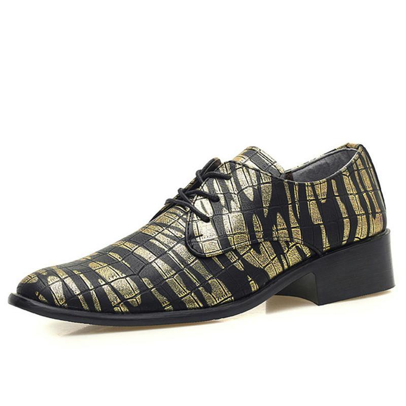 5ae8b562893d09 Acheter 2019 Nouvelle Arrivée Chaussures De Luxe En Cuir Pour Hommes Bout  Pointu Chaussures Habillées Imprimer La Mode Appartements À Lacets Casual  Oxford ...