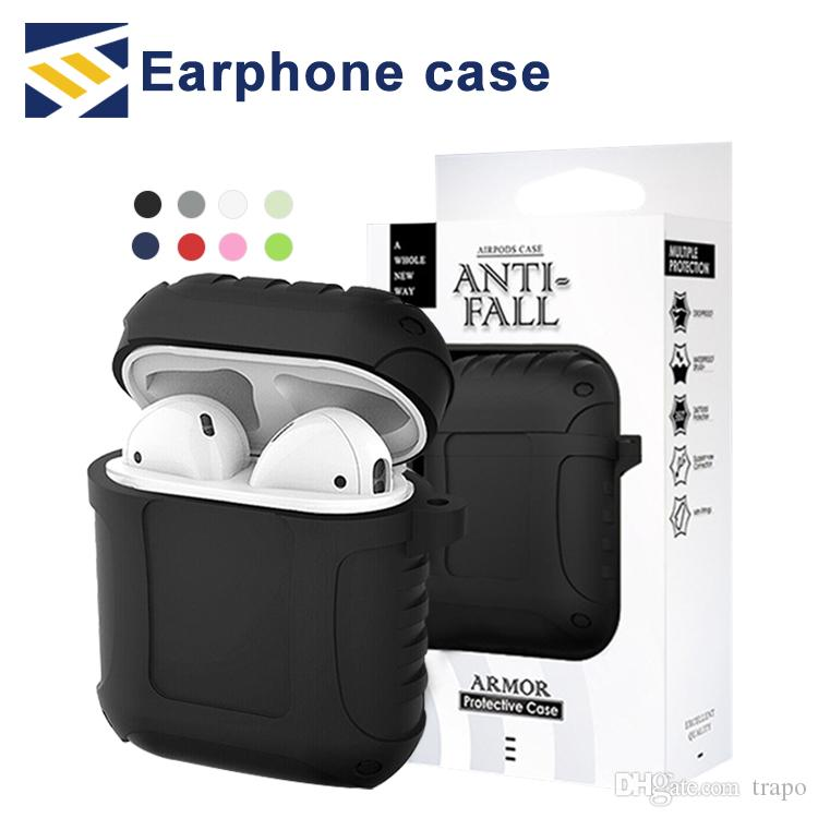 Shockproof Silicone Case Cover True Wireless Bluetooth Headphones Protective Skin Anti Lost Hook Key Chain for Apple Airpod With Package