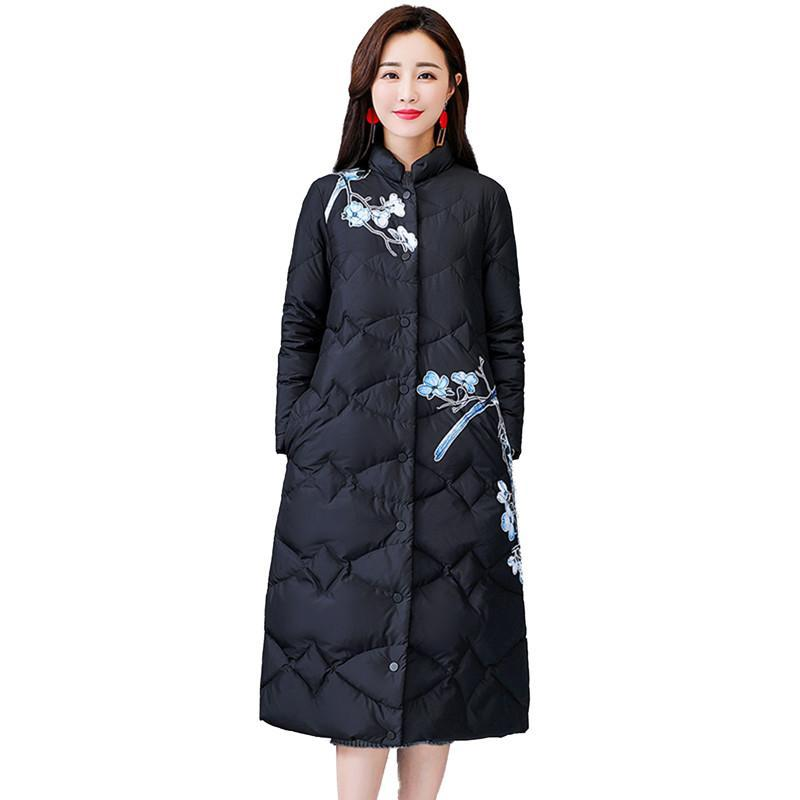 7dbb2a3ea6541 2019 Women Winter Flower Print Parkas Jacket Female Long Brand Coat Ladies  Down Jackets Fashion Thicken Warm Coats Plus Size 4XL V355 From Fabian05