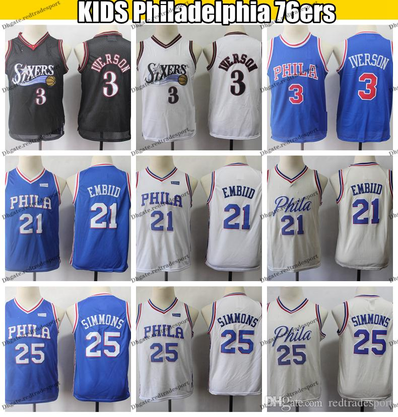 newest cb102 00014 2019 Kids Philadelphia Joel Embiid 21 Ben Simmons 25 Home 76ers Basketball  Jerseys Boys Youth Allen Iverson #3 Stitched Shirts S-XL