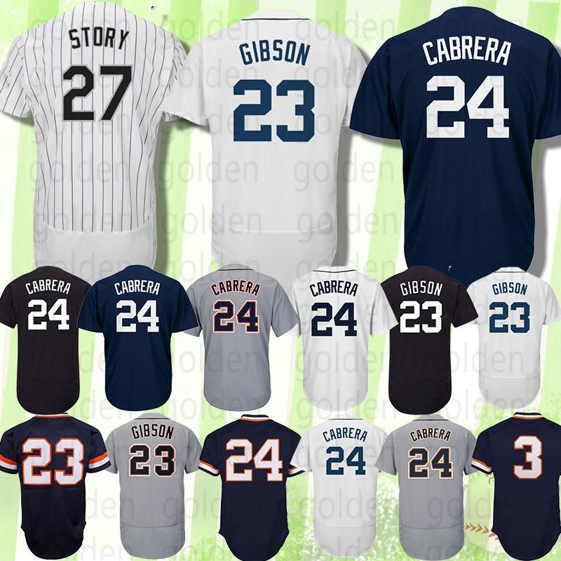 the best attitude 357d5 06be1 27 Trevor Story Colorado Jersey Rockies Detroit Jersey Tigers 23 Kirk  Gibson 24 Miguel Cabrera 3 Alan Trammell 100% Stitched High-quality