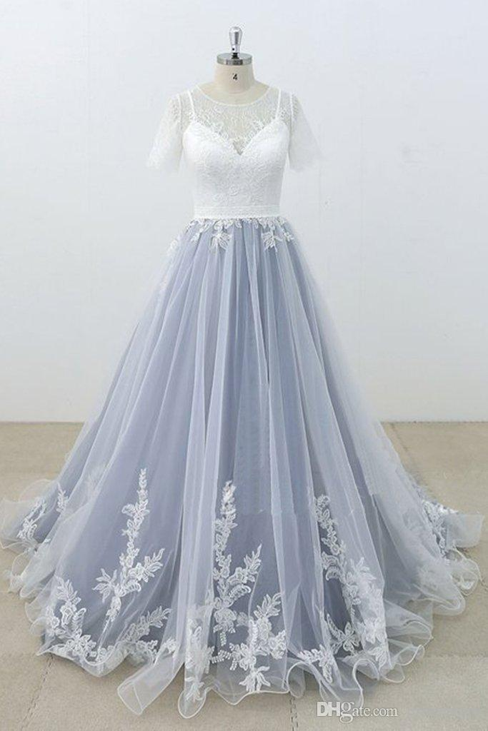 9fa383b0e2b025 Stunning Dusty Gray And White Prom Dresses With Half Sleeves A Line ...