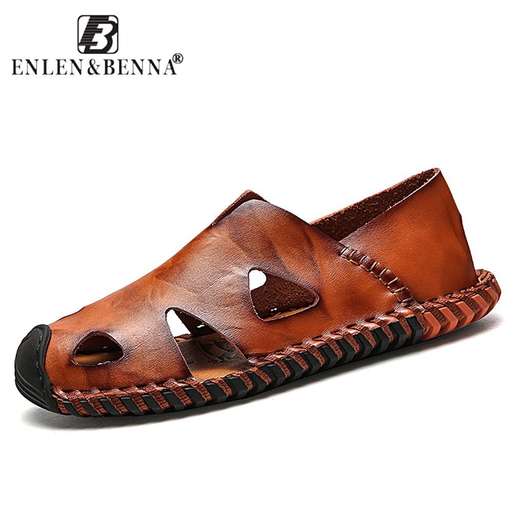 f2f9c6c9c32b08 Summer Sandals Men Leather Classic Roman Sandals 2018 Slipper Outdoor  Sneaker Beach Rubber Flip Flops Men Water Trekking Sandals Men Sandals  Heeled Sandals ...