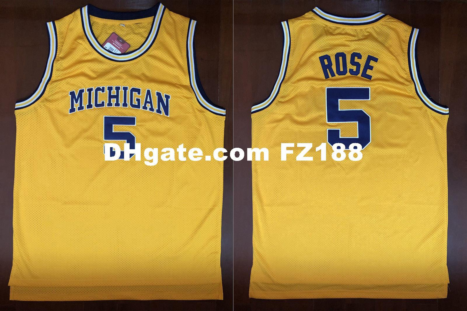 52e6fd5b26c 2019 Jalen Rose  5 University Of Michigan Retro Basketball Sewn Jersey XS  6XL Yellow From Diyjerseys