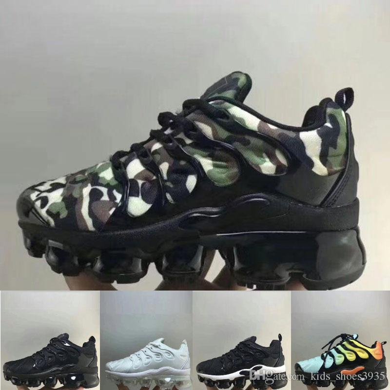 01 2019 New TN Plus Black White Kids Shoes Children's Boy and Girls Ultra TN Running Shoes