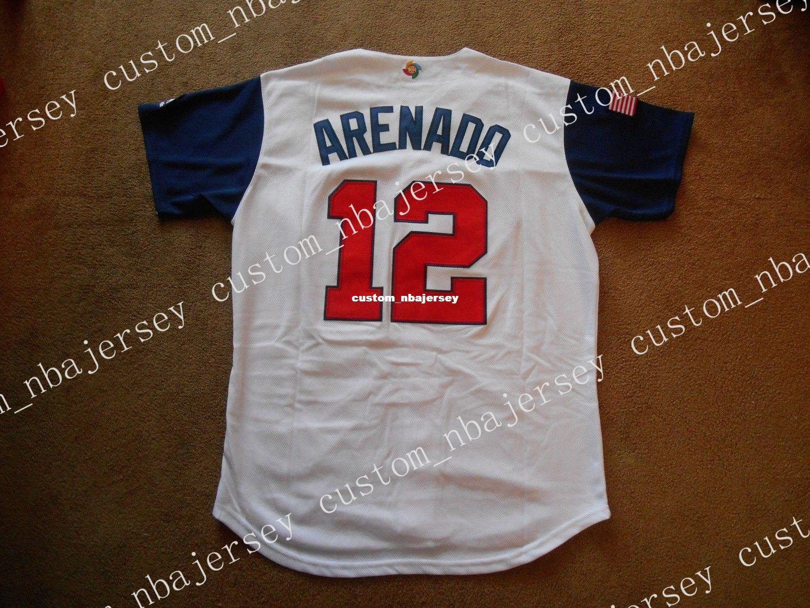finest selection 6e93f 508f9 Cheap custom Nolan Arenado #12 WBC Classic USA Button White Baseball Jersey  NEW Stitched Customize any name number MEN WOMEN YOUTH Jerseys