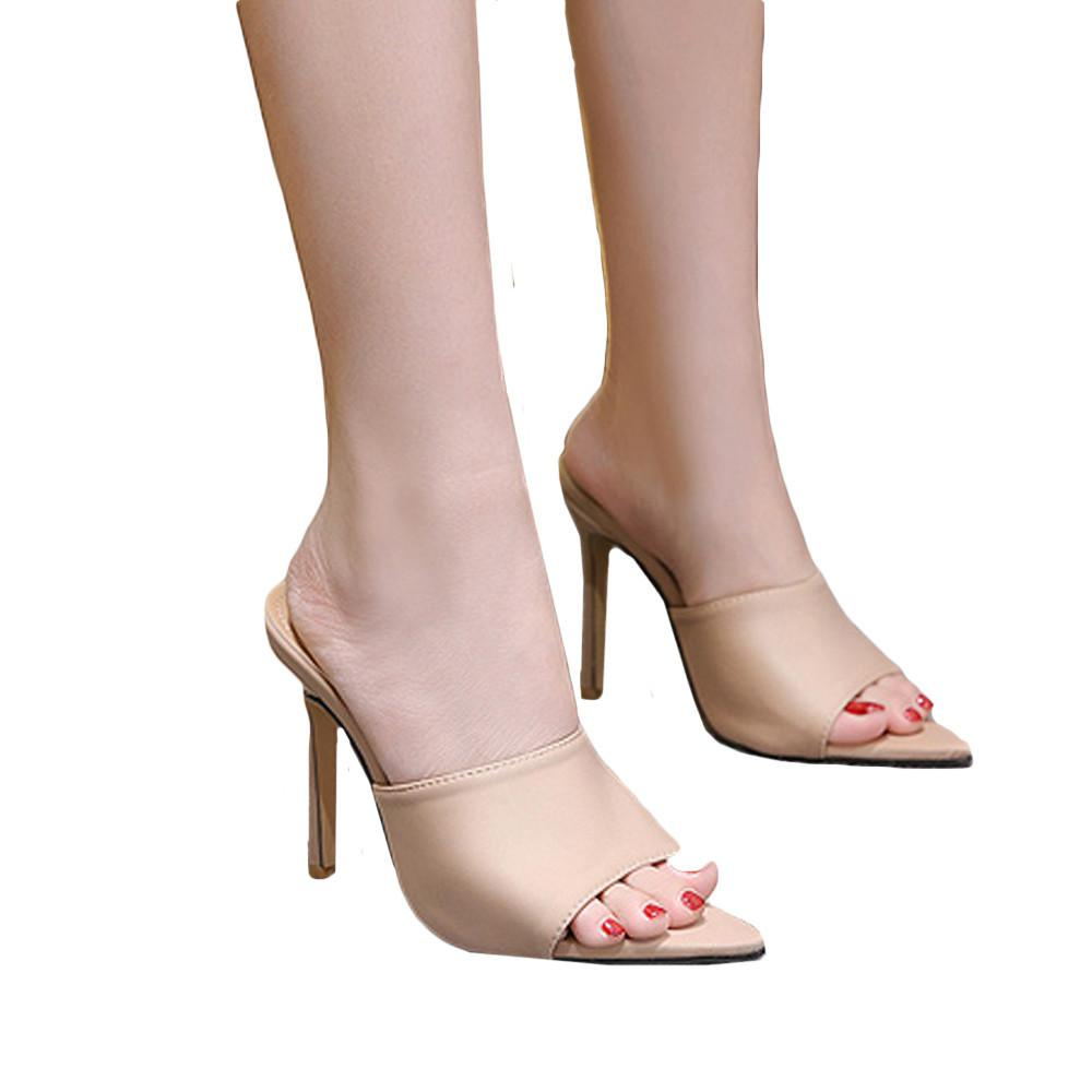 6dab82fe Compre Vestido De Moda Tacones Altos Mujer Zapatillas Punta Estrecha Tacones  Finos Hebilla Calzado Moda De Verano 2019 Marca Señoras Mulas Zapatos A  $37.75 ...