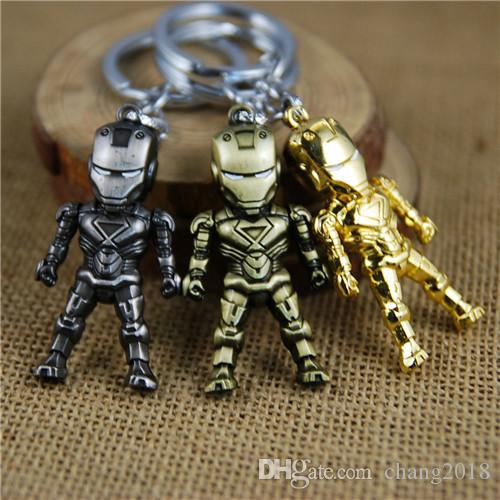 17 styles Classic Iron Man Pendant Keychain The avengers alliance LED keychain Mini PVC Action Figure with LED Light & Sound keyring newv001