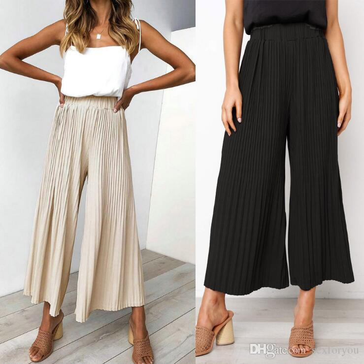 Women's Clothing 2018 New Fashion Hot Sexy Charming Womens Casual High Waist Bandage Striped Wide Leg Long Pants Trousers In Many Styles
