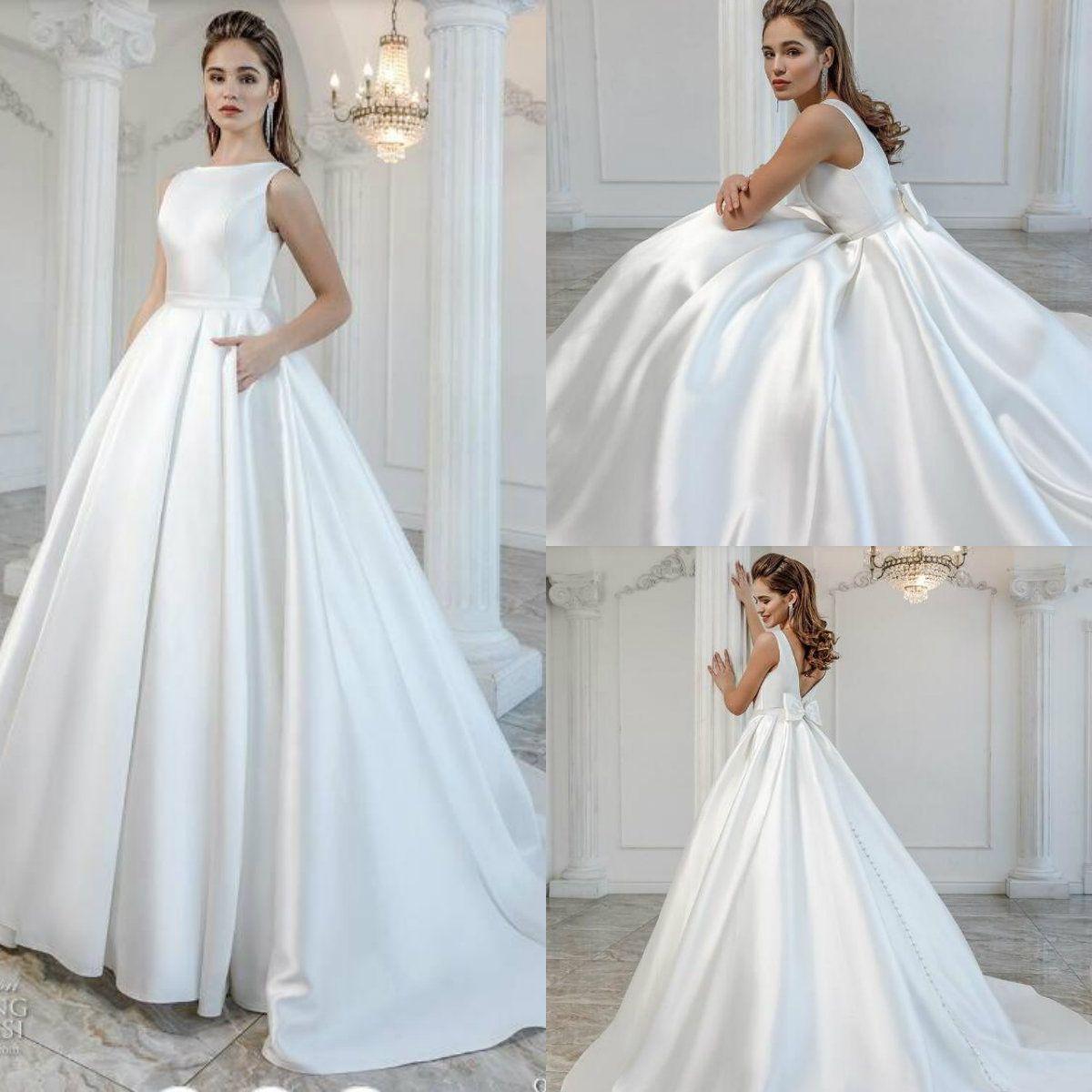 cb0b0788b94 Discount 2019 Plus Size Wedding Dresses Sleeveless Elastic Satin Bow  Backless Beach Wedding Dress Robe De Mariée Summer Boho Bridal Gowns Cheap Gowns  Plus ...