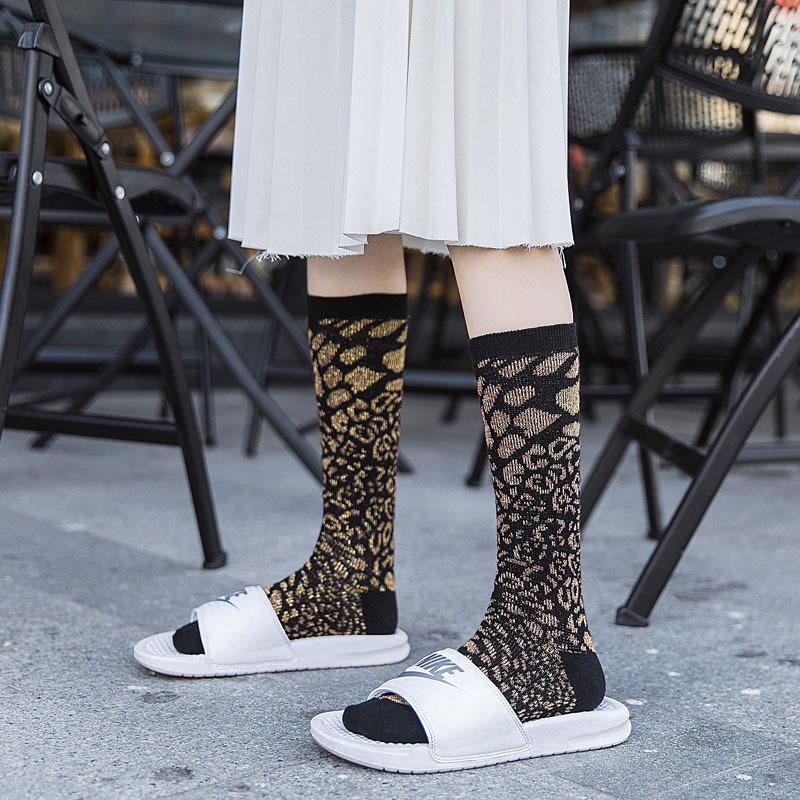 Frau Massiv Leopard Cotton Socken Lurex Mixed Socken Print Knee High Mädchen Warm Leopard Winter-Knöchel-4 Paare / Los
