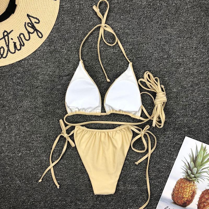 Sexy Mini Bikini Micro 2019 Bademode Frauen Badeanzug Verband Halfter Top Solid Schwarz Weiß Bikini Set Brasilianische Tanga Badeanzug