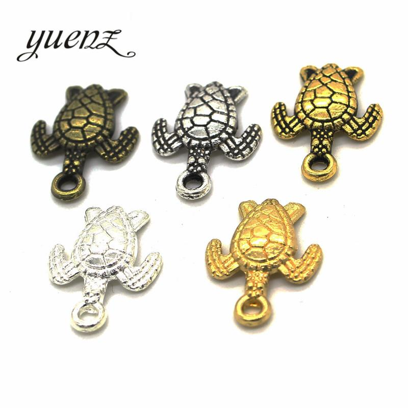 Cheap Charms YuenZ 25pcs 5color Antique Sliver Animal turtle Charm DIY metal charms for jewelry making 16*12mm D701