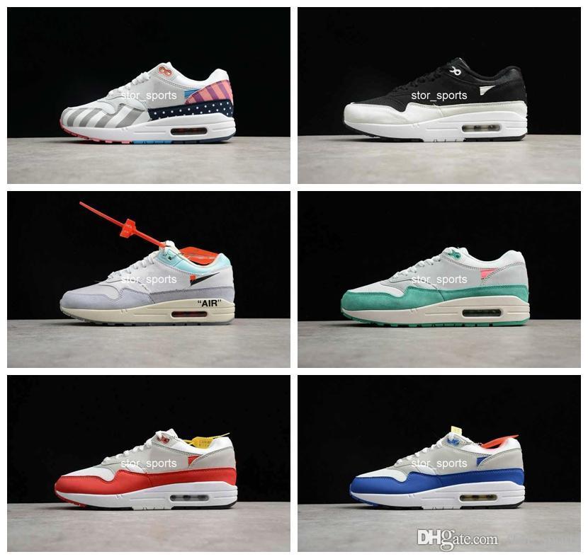 2019 Nuevo chaussures nike air max 1 OG Calzado de running para hombre Mujer, Parra Max1 Habanero Rojo Obsidiana Blanco Negro 1s Zapatillas de deporte
