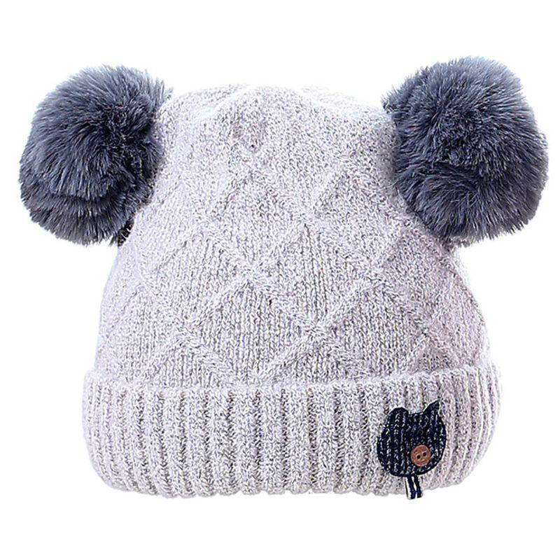 f15b7fb32fc 2019 Infant Baby Winter Rhombic Knitted Cuffed Hat Solid Color Fluffy  Pompom Ball Beanie Cap Thicken Double Layered Button Cat Appliq From  Onecherry