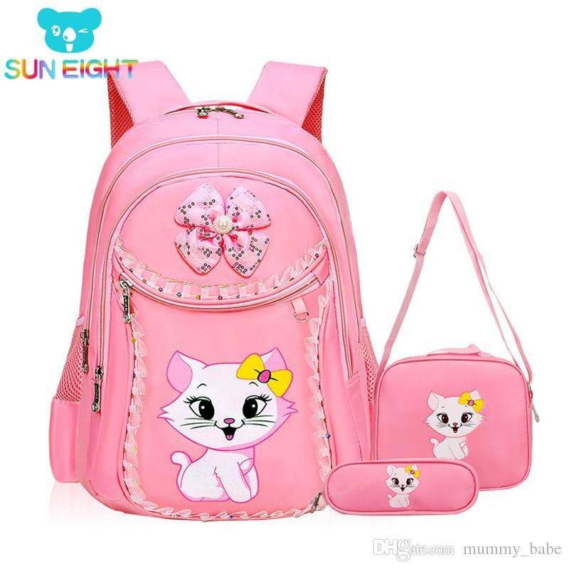 Sun Eight Sweet Cat Girl S School Bags Cartoon Pattern Kid Backpack