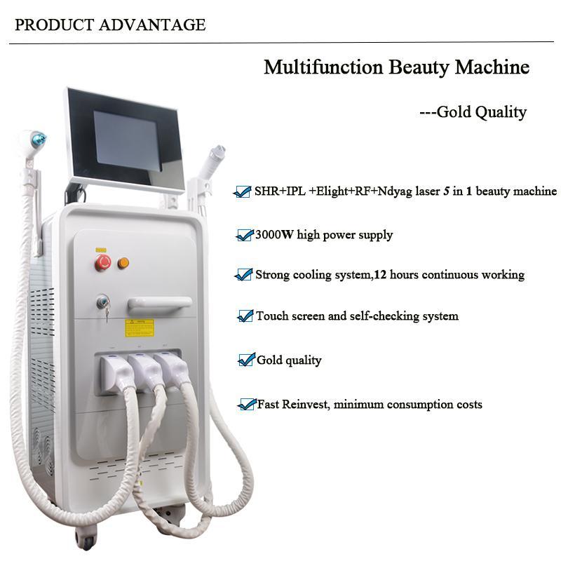 многофункциональный E-Light диодный лазер машина для удаления волос Оборудованный одобрено 5 фильтров IPL для удаления волос Омоложение кожи ручной