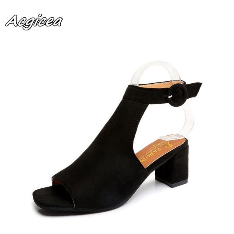 5eed4de150 Compre 2019 Novas Sandálias Cabeça De Peixe Grosso Com Flock Palavra De  Alta Fivela Fivela Sapatos Casuais Das Mulheres Sandalias Femeninas S118 De  Bags44