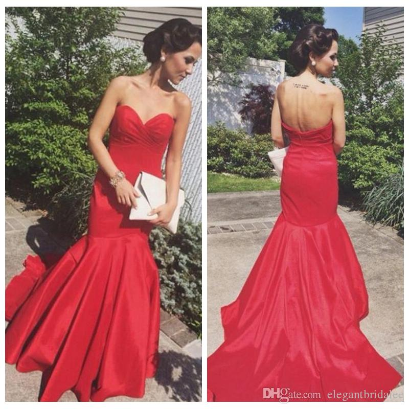 2020 Sexy Slim Mermaid Prom Dresses Red Special Occasion Party Gowns Arabic Indian Backless Sweetheart Celebrity Dress Long Floor Length