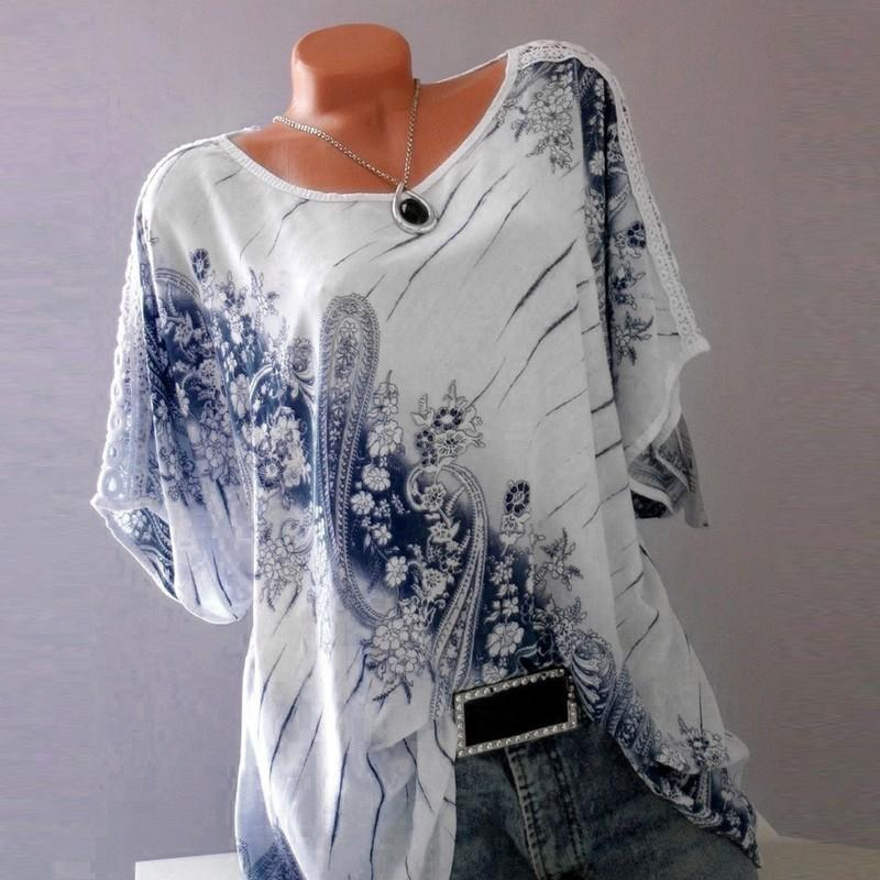 d179382718d97 Spring S-5XL Plus Size Women Tops Summer Short Sleeve O Neck Floral Print  Loose Blouses Casual Lace Fashion Tops Shirts Blouses