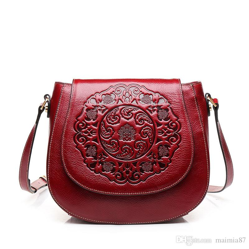 7a5f3aca34abe China Style Retro Red Genuine Leather Embossing CrossBody Bag Luxury Women  Circle Hand Bag Designer Crossbody Bag Female Clutch Purses 2019 Cheap  Designer ...