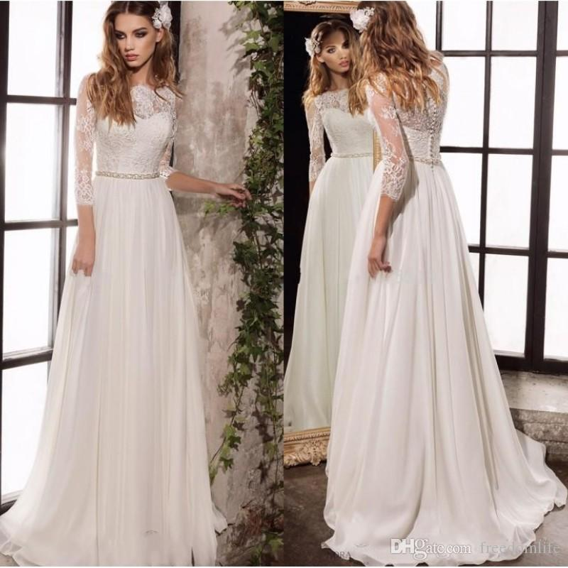 aa8e5475cf Discount Elegant Beach Wedding Dresses Lace Top Bateau Chiffon Bohemian  Wedding Dress With 3/4 Long Sleeves Bridal Gowns Custom Made Wedding Dresses  Cheap ...