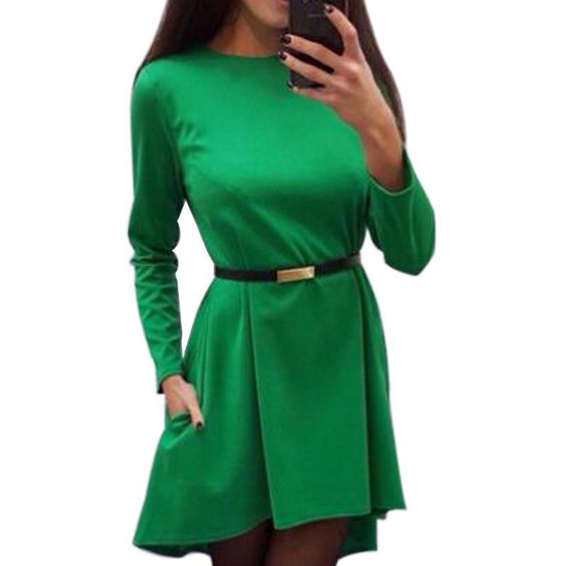 Acquista Irregular Women Solid Dress 2019 Autunno Inverno Manica Lunga O  Collo Elegante Casual Abiti Da Ufficio Allentati Senza Cintura Q0074B A   29.25 Dal ... b4de8edac1c