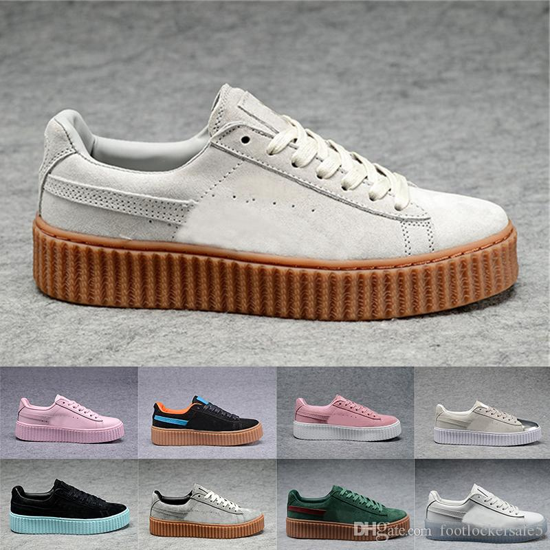 the best attitude 1e6b0 f2f7e Terciopelo Rihanna Suede Creepers Para Hombres Mujeres Rihanna Shoes Fenty  Platform Pack Burdeos Negro Gris Rojo Moda Casual Zapatos Zapatillas De  Deporte ...