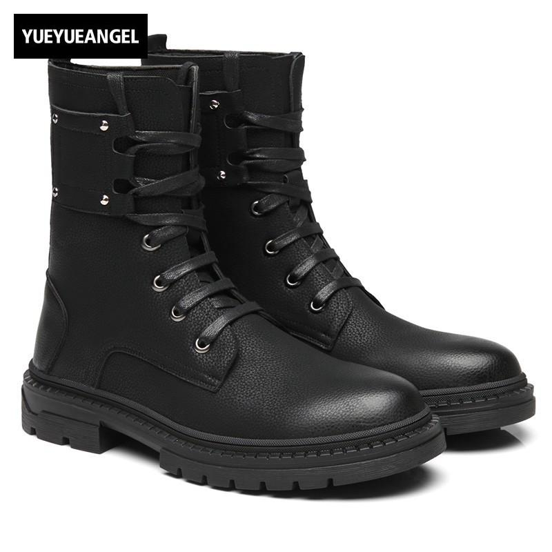 439eec46984e6 Casual Lace Up Round Toe Mid Calf Boots Men High Quality Black Motocycle  Platform Boot Working Shoes Man Safety High Top Sneaker Shoe Sale Pumps  Shoes From ...
