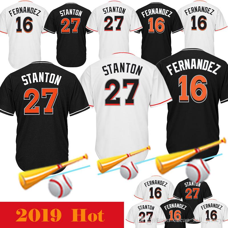 cheaper ebe3c 1f8a7 16 Jose Fernandez 27 Giancarlo Stanton Men s Miami 27 Stanton Jerseys  Marlins 16 Jose Fernandez Baseball Jerseys Adult