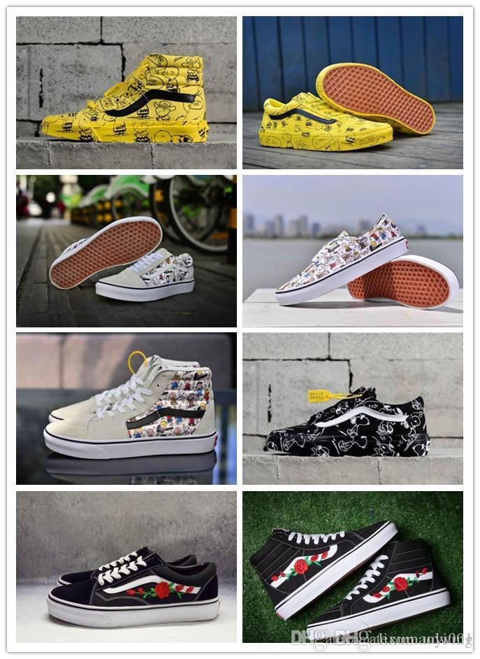 84b874285e2bba 2019 Best Vans X Peanuts Snoopy Signed Original Yellow White Grey Low  Sports Skates Shoes Men Women Sneakers Canvas Shoes Size 36 44 From Udwing