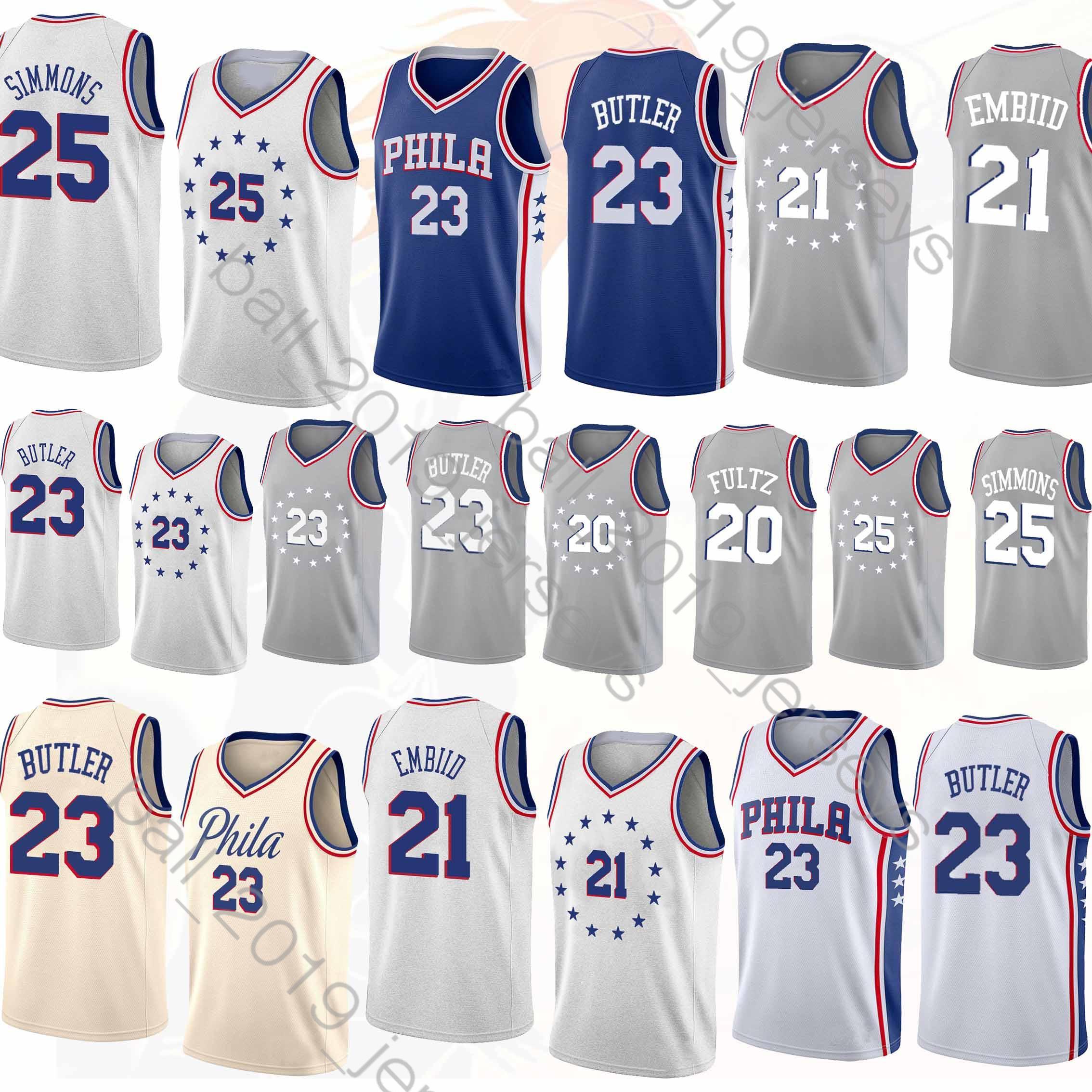 online store 114e8 5611d Philadelphia Ben 25 Simmons 76ers jerseys Joel 21 Embiid 23 Butler jersey  Maillots de basketball jersey