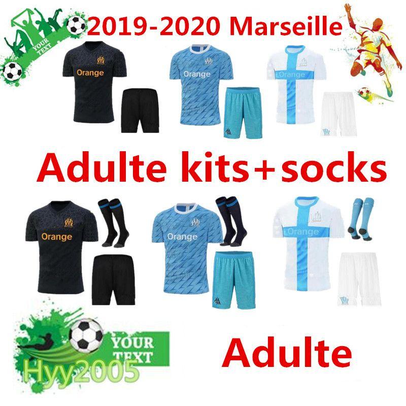 pretty nice 01b51 04445 Olympique de Marseille Football jersey kits socks 2019 2020 OM Marseille  Maillot De Foot PAYET L.GUSTAVO THAUVIN Adulte Soccer jerseys